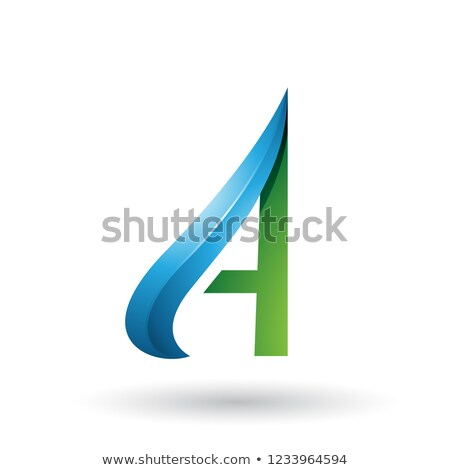 Green and Blue Embossed Arrow-like Letter A Vector Illustration Stock photo © cidepix