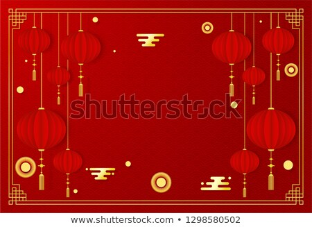 chinese new year 2019 empty paper card template stock photo © cienpies