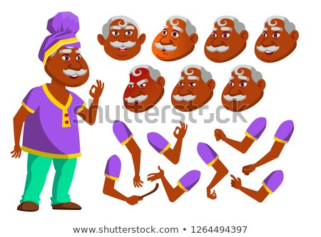 Indian Old Man Vector. Senior Person. Aged Hindu. Asian. Active, Expression. Face Emotions, Various  Stock photo © pikepicture