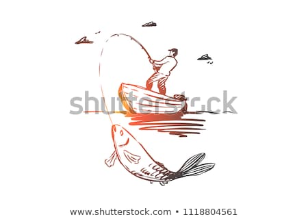 fisherman with fishing rod fish and bucket vector stock photo © robuart