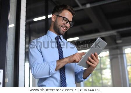 Empresário comprimido homem trabalhar tecnologia teia Foto stock © Minervastock