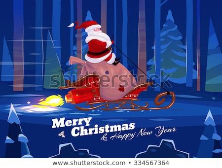 Noel baba roket neşeli Noel orman karikatür Stok fotoğraf © Krisdog
