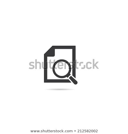 Iroda papír nagyító ikonok vektor ikon szett Stock fotó © robuart
