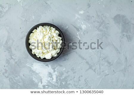 eigengemaakt · cottage · cheese · zwarte · keramische · kom · donkere - stockfoto © artsvitlyna