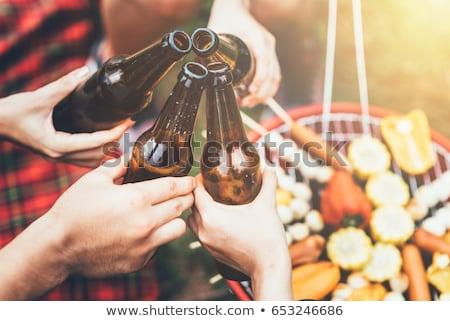 Stok fotoğraf: Plaj · bira · barbekü · parti · mutlu · kadın