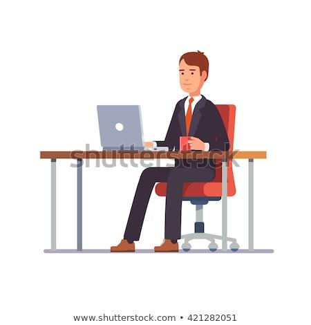 Homem de negócios terno sessão tabela trabalhando laptop Foto stock © snowing