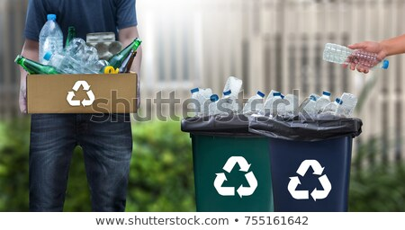 A girl put the glass in the trash can Stock photo © bluering