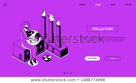 air pollution   modern colorful isometric vector web banner stock photo © decorwithme