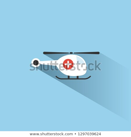 Emergency helicopter icon with shade on a blue background Stock photo © Imaagio