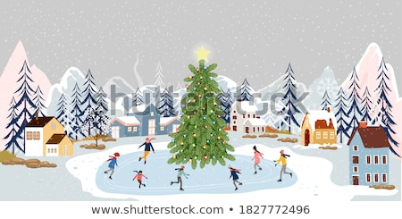 merry christmas greeting cards mountains and city stock photo © robuart