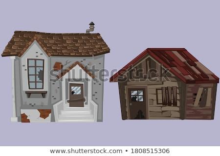 Tégla ház szegény állapot illusztráció otthon Stock fotó © colematt