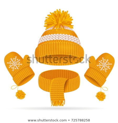 warm set winter knitted scarf mittens and hat stock photo © robuart