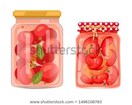 Tomato and Chili Pepper Pickled Salty Food Set Stock photo © robuart
