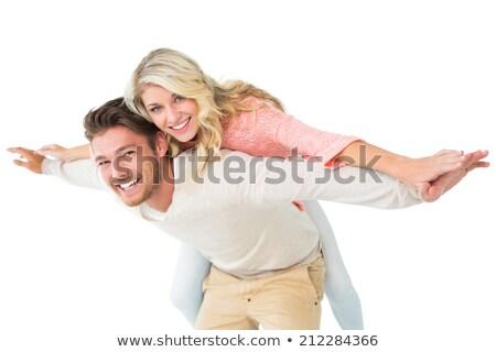 Fiatalember nő hát néz oldal lezser Stock fotó © feedough