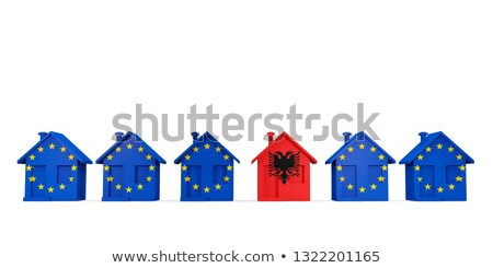 House with flag of albania in a row of EU flags Stock photo © MikhailMishchenko