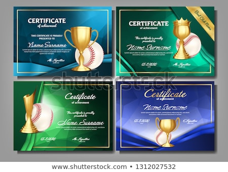 Baseball Certificate Diploma With Golden Cup Vector. Sport Award Template. Achievement Design. Honor Stock photo © pikepicture