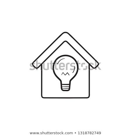 okos · ház · energia · fogyasztás · kézzel · rajzolt · skicc - stock fotó © RAStudio