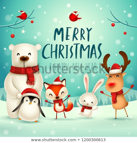 Merry Christmas Greeting Poster with Animal Vector Stock photo © robuart