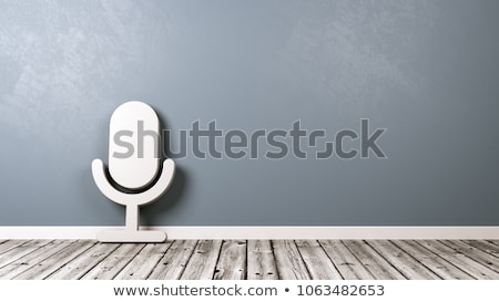 Microphone Symbol on Wooden Floor Against Wall Stock photo © make