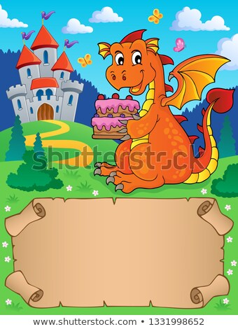 Small parchment and dragon holding cake Stock photo © clairev