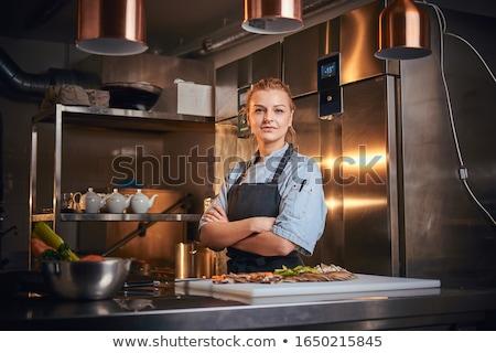Ciddi şef pişirmek üniforma ayakta Stok fotoğraf © deandrobot