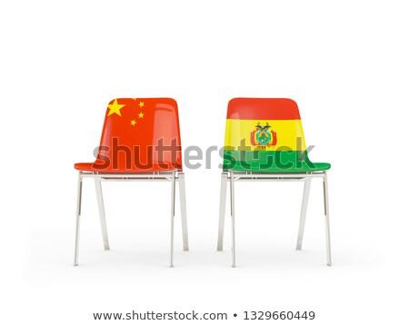 два стульев флагами Китай Боливия изолированный Сток-фото © MikhailMishchenko