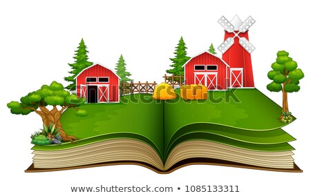 Storybook with scarecrow in the farm Stock photo © colematt