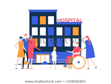 discharge from the hospital   colorful flat design style illustration zdjęcia stock © decorwithme