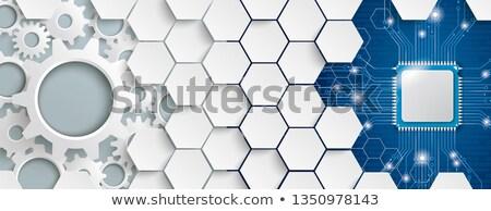 White Hexagon Structure Gears Microchip Header Stock photo © limbi007