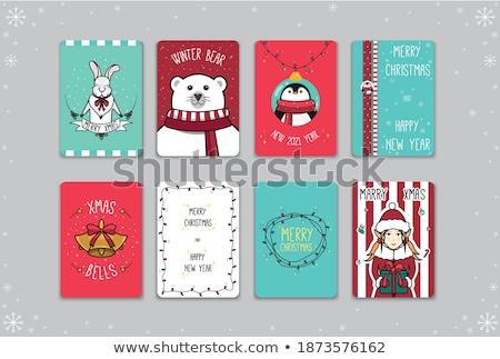 neşeli · Noel · kuş · tavşan · ayarlamak · simgeler - stok fotoğraf © robuart