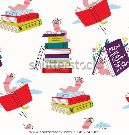 Сток-фото: иллюстрация · книжный · червь · чтение · многие · книгах