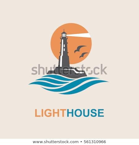 blue lighthouse with water waves   logo design stock photo © djdarkflower