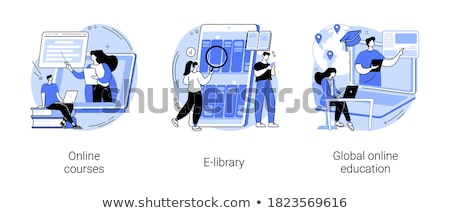 Online Course and Library with Free Access Set Stock photo © robuart