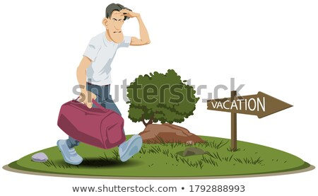 Man Backpack Hitch Hike Sign Stock photo © lenm