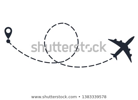 Plane with path of movement, airplane route, trajectory dotted line Stock photo © Andrei_