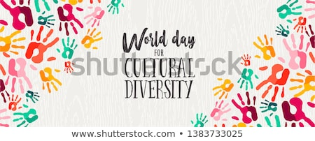 Cultural Diversity Day diverse hand print card Stock photo © cienpies