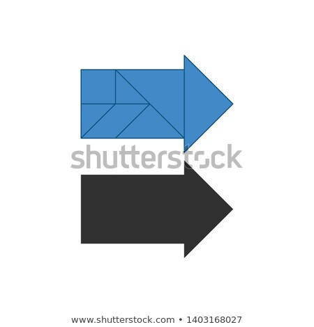 Arrow right Tangram. Traditional Chinese dissection puzzle, seven tiling pieces - geometric shapes:  Stock photo © kyryloff