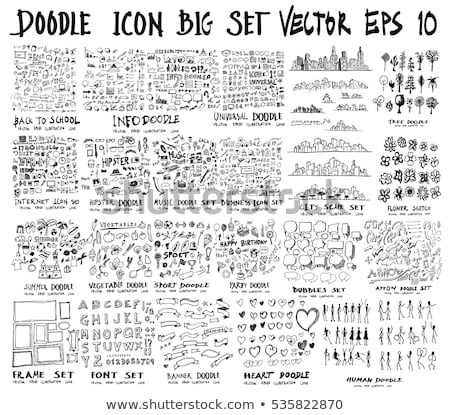 Hand drawn cinema icon set Stock photo © netkov1