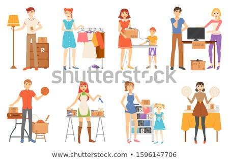 ilustración · personas · fuera · compras · mercado - foto stock © robuart