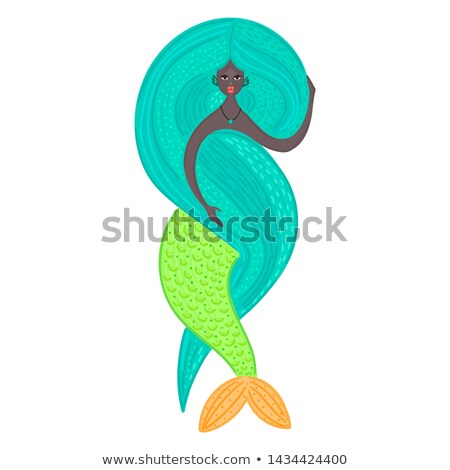 Photo stock: Vector Mermaid African American Sea Girl Beautiful Woman With Tail Nixie With Long Lush Hair