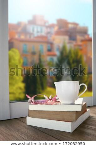 Oog bril boeken naast venster nagebootst Stockfoto © stoonn