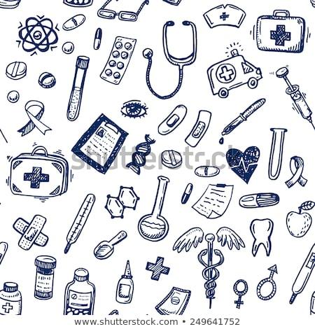Stock photo: Hand drawn medicine pattern