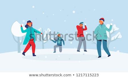 играет · снежный · ком · зима · детство - Сток-фото © dolgachov
