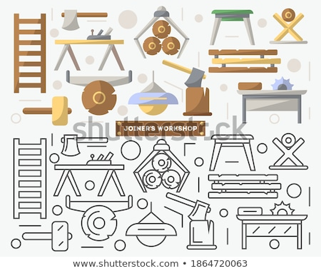 Color Woodwork Carpentry Collection Equipment Set Vector Stock photo © pikepicture