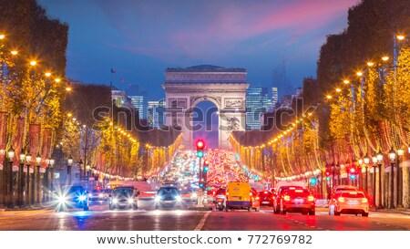 Megvilágított kilátás Diadalív párizsi este Franciaország Stock fotó © Givaga