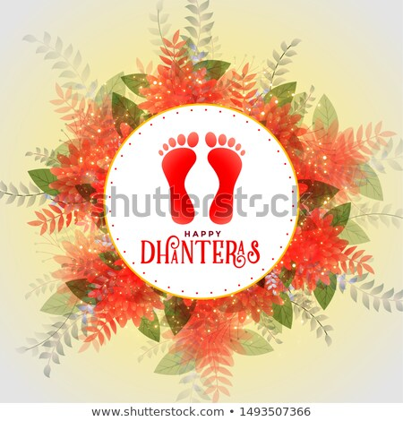 happy dhateras flower background with lord lakshmi footprints Stock photo © SArts