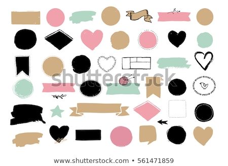 hand drawn vector set with black doodle line circles   round grunge frames and borders elements stock photo © pravokrugulnik