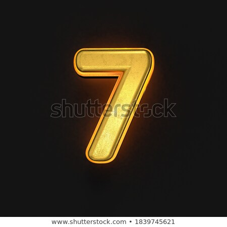 Yellow outlined font Number 7 SEVEN 3D Stock photo © djmilic