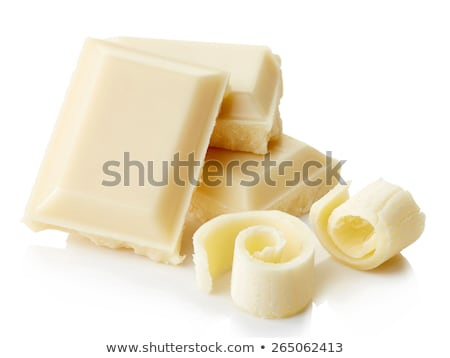 Stok fotoğraf: White Chocolate Pieces And Curls Isolated On White Background