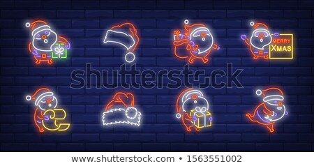 merry christmas neon sign in gift bag stock photo © voysla